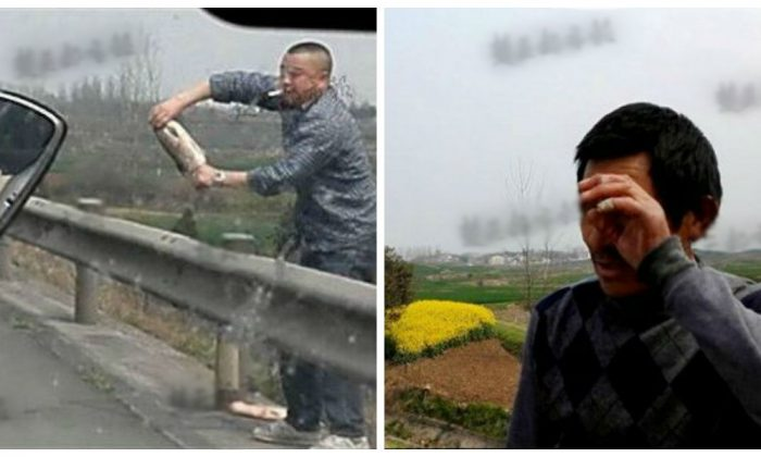A tearful Mr. Lu sees his fish rooted as his plea falls on deaf ears at Hubei on March 24. (Chutian City Daily)