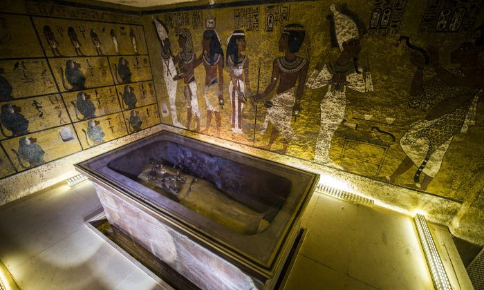 The golden sarcophagus of King Tutankhamun in his burial chamber in the Valley of the Kings, close to Luxor, 310 miles south of Cairo, Egypt, on Nov. 28, 2015. Scans in King Tutankhamun's tomb in Egypt's Valley of the Kings point to a hidden chamber, possibly heralding the discovery of Queen Nefertiti's resting place. (Khaled Desouki/AFP/Getty Images)