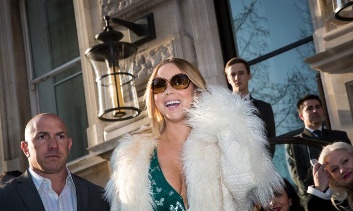 Mariah Carey leaves the Corinthia Hotel in London, March 17, 2016. (Vianney Le Caer/Invision/AP)