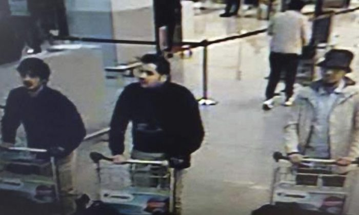 Three suspects in the Brussels airport bombing caught on CCTV. (Belgian Federal Police)