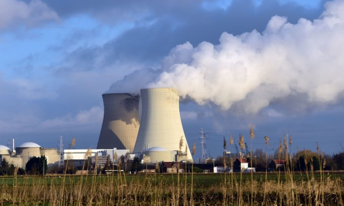 the cooling towers of Belgium's Doel nuclear plant on Jan. 21, 2016 (EMMANUEL DUNAND/AFP/Getty Images)