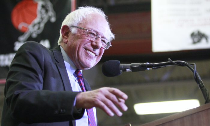 Democratic presidential candidate Bernie Sanders speaks during a campaign rally at West High School in Salt Lake City, Utah, on March 21, 2016. (George Frey/Getty Images)