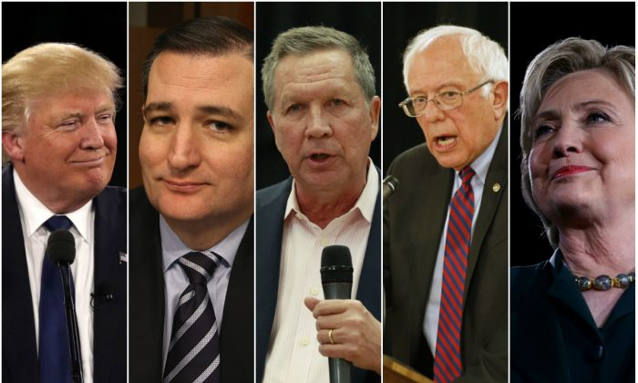 (L–R) Donald Trump, Ted Cruz, Bernie Sanders, and Hillary Clinton. (Alex Wong/Getty Images, Mark Wilson/Getty Images, George Frey/Getty Images, Justin Sullivan/Getty Images)
