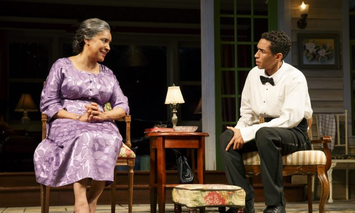 "Phylicia Rashad and Kyle Beltran in ""Head of Passes,"" written by Tarell Alvin McCraney. (Joan Marcus)"