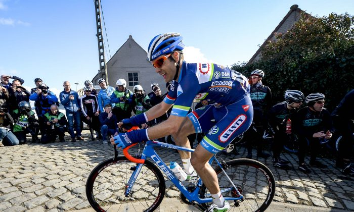 Belgium's Antoine Demoitie of Wanty-Groupe Gobert died on March 27 after he was struck by a motorbike following a fall during the Gent-Wevelgem race in Belgium, police said. (Dirk Waem/AFP/Getty Images)