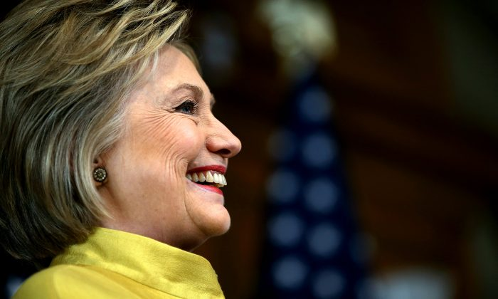 Democratic presidential candidate former Secretary of State Hillary Clinton delivers a counterterrorism address at Stanford University on March 23, 2016 in Stanford, California. (Justin Sullivan/Getty Images)