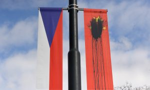 Communist Banners Welcoming Xi Jinping to Czech Republic Defaced by Protesters