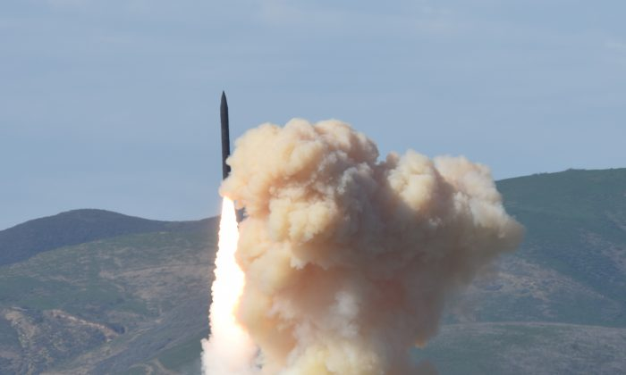 A long-range ground-based interceptor is launched from Vandenberg Air Force Base, CA, U.S. (Defense Department's Missile Defense Agency via AP)