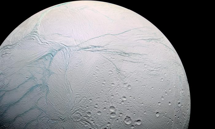 Enceladus, with its warm internal ocean, is thought to be potentially habitable. (Marc Van Norden/Flickr, CC BY-SA)