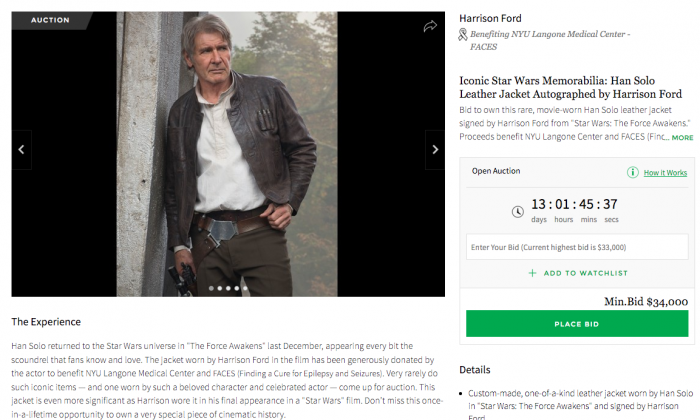 Leather jacket worn by Harrison Ford is up for auction. (screenshot/ifonly)