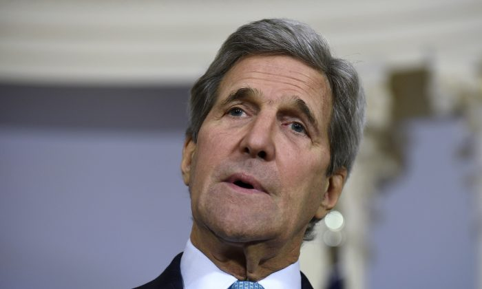 """In this March 9, 2016, file photo, Secretary of State John Kerry speaks to reporters at the State Department in Washington. The State Department and Pentagon ordered the families of U.S. diplomats and military personnel Tuesday to leave posts in southern Turkey due to """"increased threats from terrorist groups"""" in the country.   (AP Photo/Susan Walsh, File)"""