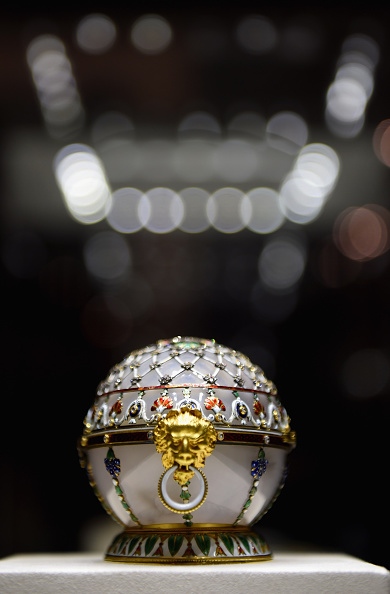 A Faberge Egg on display at the Faberge museum in Shuvalov Palace during the media tour of Russia 2018 FIFA World Cup venues on July 20, 2015 in Saint Petersburg, Russia.  (Laurence Griffiths/Getty Images)
