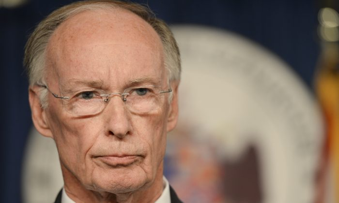 Alabama Gov. Robert Bentley responds to statements made by Spencer Collier, the former head of the Alabama Law Enforcement Agency, Wednesday, March 23, 2016, in Montgomery, Ala. (Julie Bennett /AL.com)