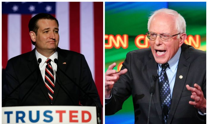 Ted Cruz and Bernie Sanders. (Bob Levey/Getty Images and Scott Olson/Getty Images)