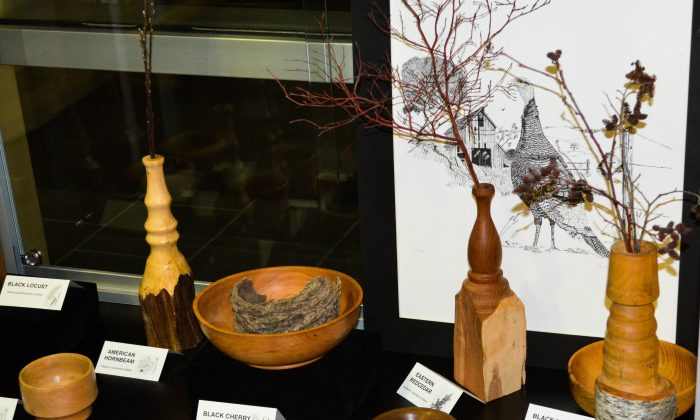 Wood pieces made by wood turning craftsman Andy Komonchak at SUNY Orange-Newburgh on March 29, 2016. (Yvonne Marcotte/Epoch Times)