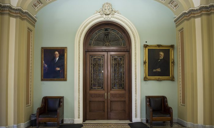 The closed doors to the Senate Chamber on Capitol Hill in Washington, D.C., on Oct. 14, 2013. (Jim Watson/AFP/Getty Images)