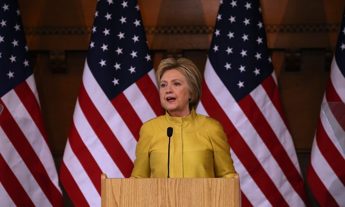 Democratic presidential candidate former Secretary of State Hillary Clinton delivers a counterterrorism address at Stanford University on March 23, 2016 in Stanford, California.  (Photo by Justin Sullivan/Getty Images)