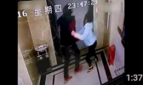 Chinese Man Attacks Elevator Doors, Falls Down the Shaft