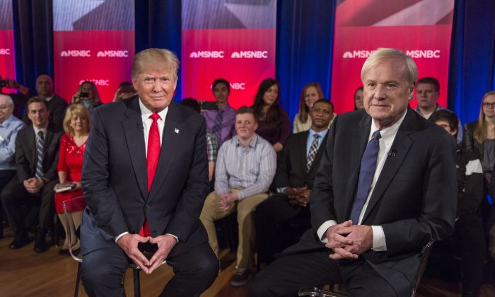 Republican Presidential candidate Donald Trump films a town hall meeting for MSNBC with Chris Matthews at the Weidner Center located on the University of Wisconsin Green Bay campus on March 30, 2016 in Green Bay, Wisconsin. Candidates are campaigning ahead of the Wisconsin primary on April 5. (Photo by Tom Lynn/Getty Images)