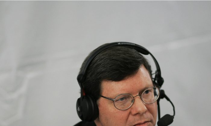 Charlie Sykes of WTMJ in Milwaukee, WI broadcasts live 24 at an event for radio talk shows at the White House in Washington, DC. in the file photo. (MANDEL NGAN/AFP/Getty Images)