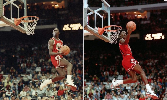 Michael Jordan of the Chicago Bulls during the 1988 slam-dunk competition in Chicago.  Jordan edged Dominique Wilkins of the Atlanta Hawks to win the contest on the final dunk.(AP Photo/John Swart)