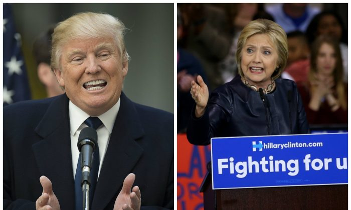 Donald Trump and Hillary Clinton. (Photos by Justin Sullivan and Jim Watson/AFP/Getty Images)