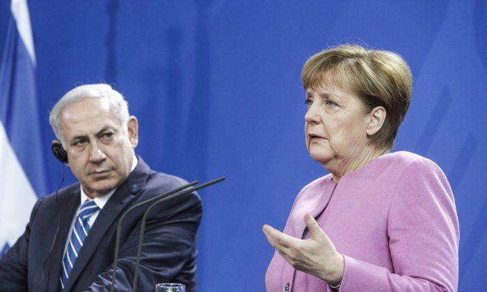 German Chancellor Angela Merkel and Israeli Prime Minister Benjamin Netanyahu attends a press conference at the Chancellery following the 6th German-Israeli government consultations on February 16, 2016 in Berlin, Germany. (Carsten Koall/Getty Images)