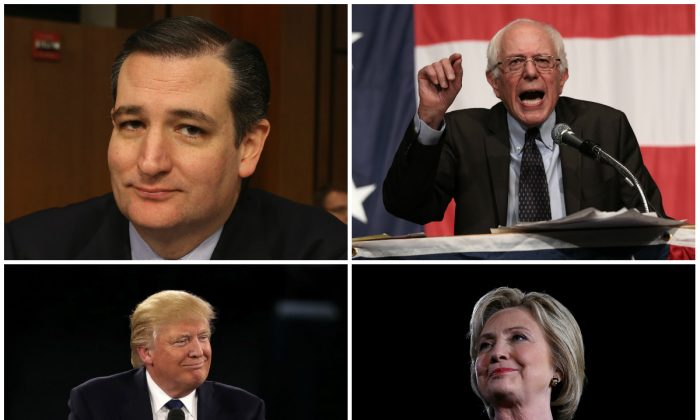 Clockwise from bottom-left: Republicans Donald Trump and Ted Cruz, and Democrats Bernie Sanders and Hillary Clinton. (Getty Images)
