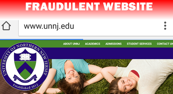 Picture of the fake University of Northern New Jersey's website. (U.S. Immigration and Customs Enforcement)