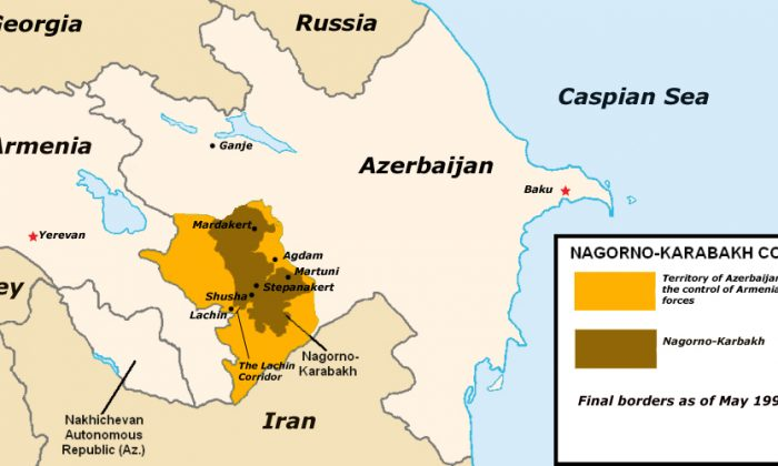The boundaries of the Nagorno-Karabakh fixed in 1994. (Clevelander, Public Domain)