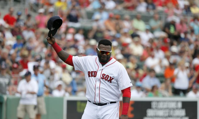 Boston Red Sox DH David Ortiz has led the franchise to three World Series titles. (AP Photo/Tony Gutierrez)
