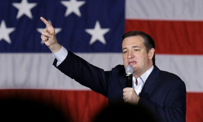 Republican presidential candidate Sen. Ted Cruz (R-Texas) speaks at a campaign stop at Waukesha County Exposition Center in Waukesha, Wis., on April 4, 2016. (AP Photo/Nam Y. Huh)