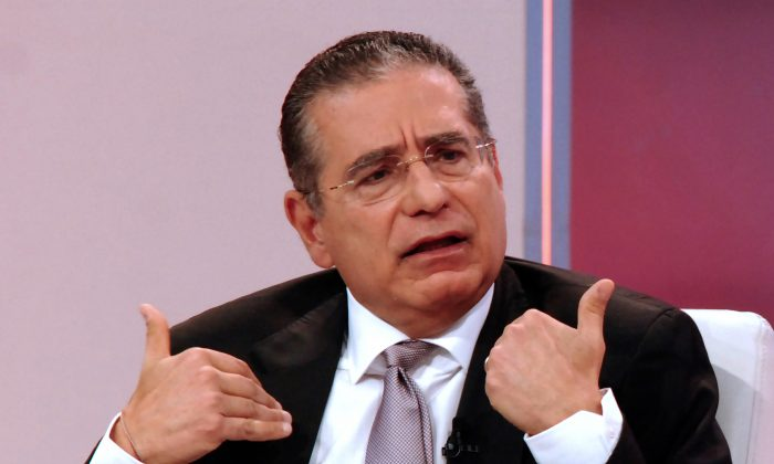 Ramon Fonseca, one of the founders of Panama's Mossack Fonseca law firm, gestures during a TV interview with Telemetro, in Panama City on April 4, 2016. (STR/AFP/Getty Images)