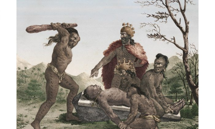 """Illustration of ritualised human sacrifice in traditional Hawaiian culture, as documented by the French explorer and artist Jacques Arago in 1819. (Jacques Arago, """"Promenade Autour Du Monde,"""" 1822)"""