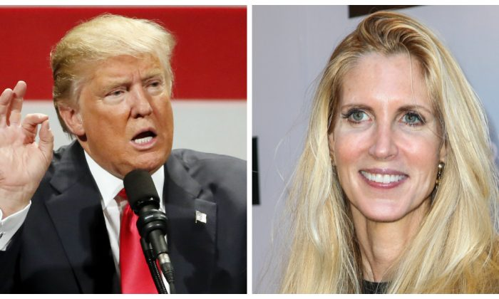 Republican presidential candidate Donald Trump speaks at a rally at the Milwaukee Theatre Monday, April 4, 2016, in Milwaukee. On right, Ann Coulter in a file photo. (AP Photo/Charles Rex Arbogast)