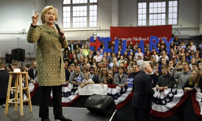 Democratic presidential candidate Hillary Clinton speaks at Carnegie Mellon University on a campaign stop, on April 6, 2016, in Pittsburgh. (AP Photo/Keith Srakocic)