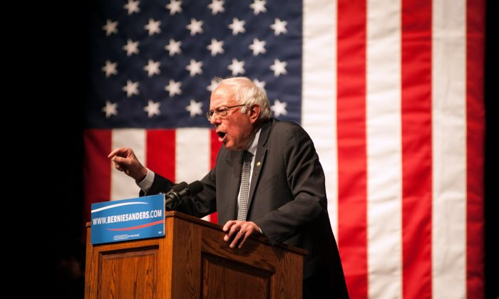 Democratic presidential candidate Sen. Bernie Sanders (D-VT) speaks during a rally on April 5, 2016 in Laramie, Wyoming. Sanders spoke to a large crowd on the University of Wyoming campus after winning the primary in Wisconsin. (Photo by Theo Stroomer/Getty Images)
