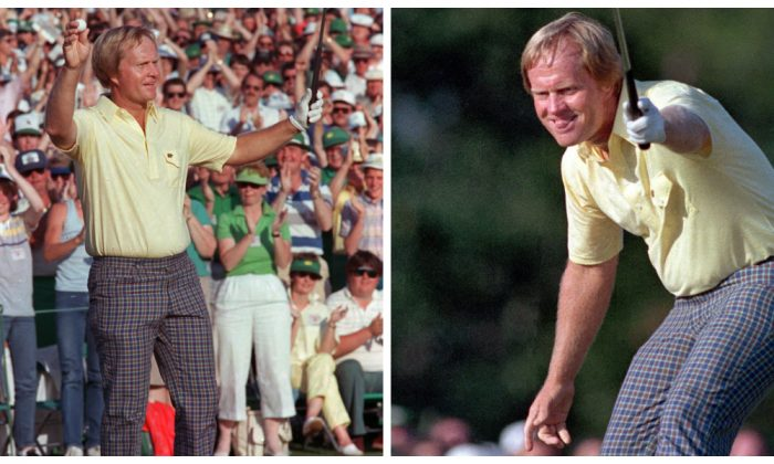Left photo: Jack Nicklaus watches his shot go for a birdie, giving him the lead on the 17th hole at the 1986 Masters. (AP Photo/Joe Benton) Right photo: The win gave Nicklaus 18 major titles—still more than anyone. (AP Photo)
