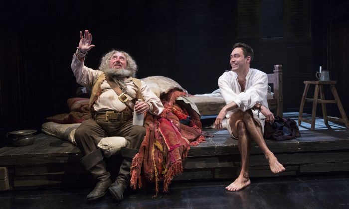 "(L–R) Antony Sher as Falstaff and Alex Hassell as Prince Hal in Shakespeare's ""Henry IV Part II,"" part of the series of four plays the Royal Shakespeare Company has mounted at the Brooklyn Academy of Music. (Richard Termine)"
