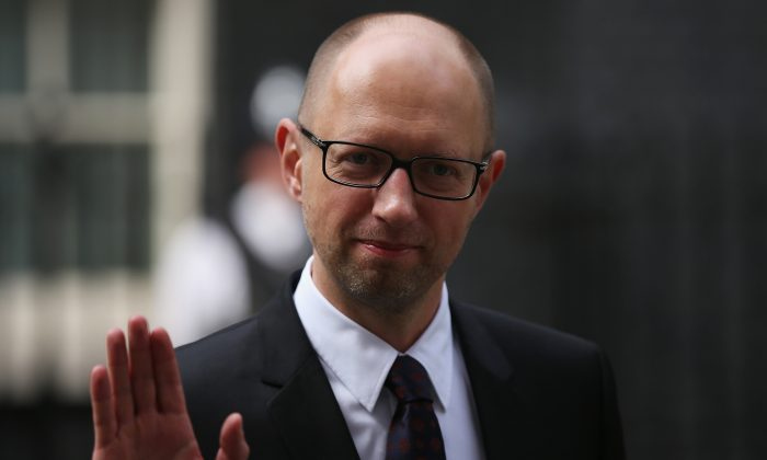 Ukrainian Prime Minister Arseniy Yatseniuk leaves 10 Downing Street after a meeting with British Prime Minister David Cameron in London, England, on July 15, 2015. (Dan Kitwood/Getty Images)