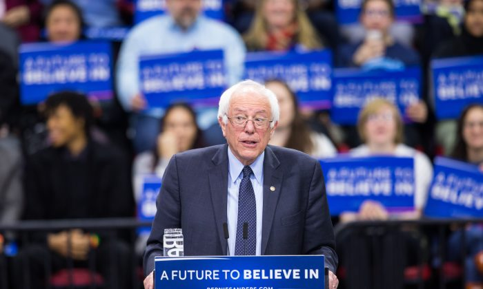 Democratic presidential candidate Bernie Sanders speaks at a rally for his campaign on April 11, 2016 in Binghamton, New York. (Photo by Brett Carlsen/Getty Images)