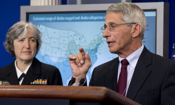 Dr. Anthony Fauci, director of NIH/NIAID, right, with Dr. Anne Schuchat, principal deputy director of the Center for Disease Control, speaks about the Zika virus during a news briefing at the White House in Washington, on April 11, 2016. (Jacquelyn Martin/AP Photo)