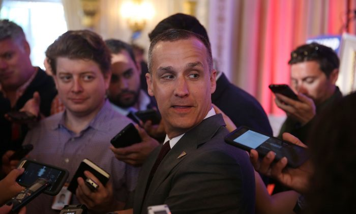 Corey Lewandowski, campaign manager for Republican presidential candidate Donald Trump. speaks with the media before former presidential candidate Ben Carson gives his endorsement to Mr. Trump at the Mar-A-Lago Club on March 11, 2016 in Palm Beach, Florida. (Joe Raedle/Getty Images)