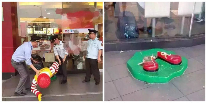A Mr. McDonald statue is removed by Chinese urban police in China's southern province of Guangzhou on April 10, 2016. (Sina)