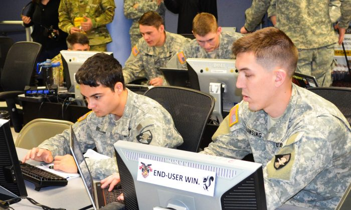 Cadets compete in Cyber Defense Exercise at West Point on April 14, 2016. (Yvonne Marcotte/Epoch Times)