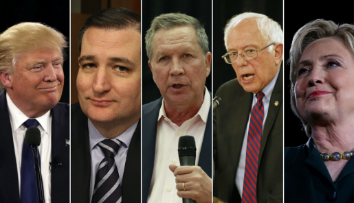 Donald Trump, Ted Cruz, John Kasich, Bernie Sanders, and Hillary Clinton. (Getty Images)