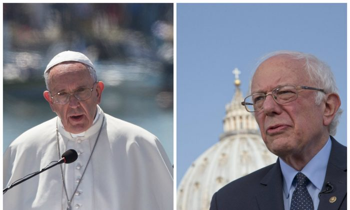 Left: Pope Francis delivers his speech at the Mytilene port on the Greek island of Lesbos, Saturday, April 16, 2016. (AP Photo/Petros Giannakouris); Right: U.S. presidential candidate Bernie Sanders, backdropped by the dome of St. Peter's Basilica at the Vatican Saturday, April 16, 2016. (AP Photo/Alessandra Tarantino)