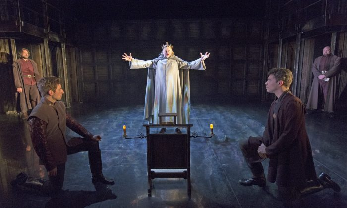 King Henry IV (Jasper Britton), center, having ascended to the throne of England, learns all too quickly that winning a battle is not nearly as difficult as keeping the peace. (Richard Termine)