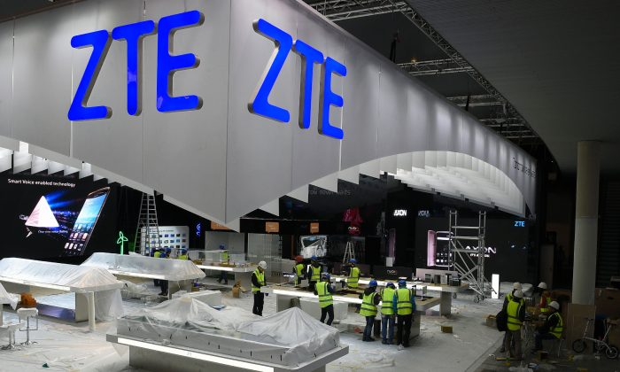 ZTE's booth at the Mobile World Congress in Barcelona on Feb. 20, 2016. (Luis Gene/AFP/Getty Images)