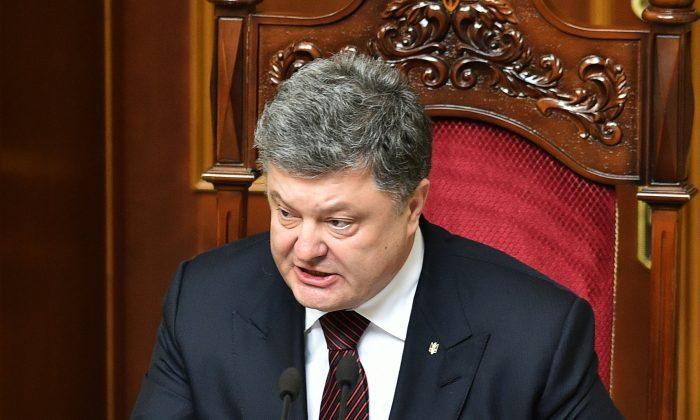 Ukrainian President Petro Poroshenko in the parliament in Kyiv on April 14, 2016. (Genya Savilov/AFP/Getty Images)